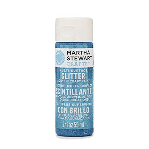 Martha Stewart Crafts Multi-Surface Glitter Acrylic Craft Paint in Assorted Colors (2-Ounce), 32167 Lapis -