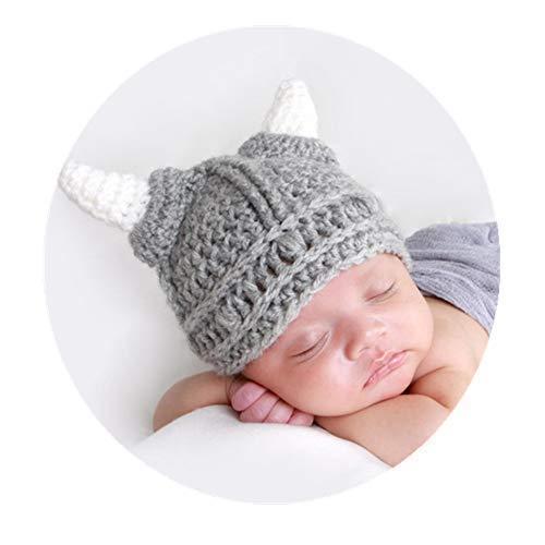 Baby Beard Viking Knit Hat Barbarian Bull Horn Crochet Handmade Knit Beanie -