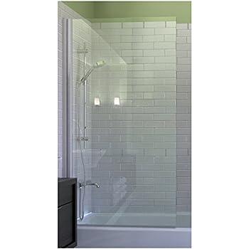 Ark Showers Semi Frameless Bathtub Shower Screen, Pivot Door, 70 X 33.5,  5/16 (8mm) Glass With Square Top Corner, White Hinge. Model 7008WPS