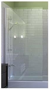 Ark Showers Semi-Frameless Bathtub Shower Screen, Pivot Door, 70 X 33.5, 5/16 (8mm) Glass With Square Top Corner, White Hinge. Model 7008WPS