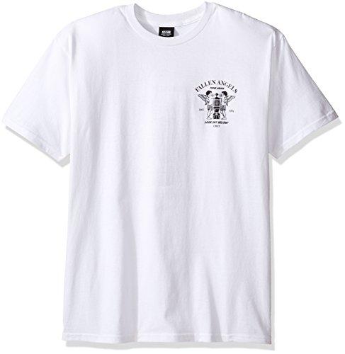 OBEY Men's Fallen Angels T-Shirt, White, - T-shirt Angels Heavyweight