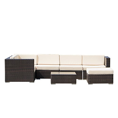 Limites Sales Ainfox Home Garden Outdoor PE Rattan Wicker Brown Gradient Sofa 7PCS Sectional Couch Chaise Patio Furniture Set price