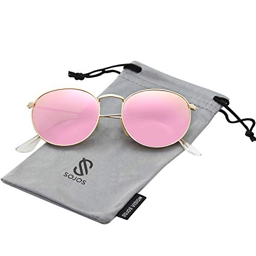 (SOJOS Small Round Polarized Sunglasses Mirrored Lens Unisex Glasses SJ1014 3447 with Gold Frame/Pink Mirrored Polarized)