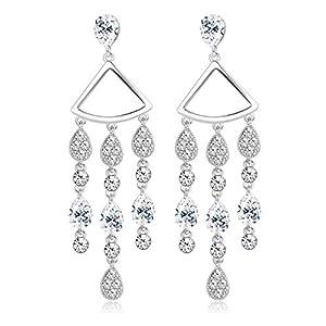 KesaPlan Teardrop Crystal Dangle Earrings Tassel Drop Earrings with Sterling Silver Pins Swarovski Crystal Earrings…