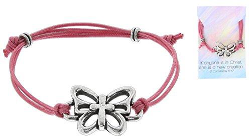 Bob Siemon Pewter Butterfly Cross Cord Bracelet on Card