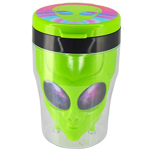 Novelty Inc. Glow-in-The-Dark Alien Head Car Ashtray, Portable Cigarette Ashtray with LED Light, Fits in Cupholder - Moon