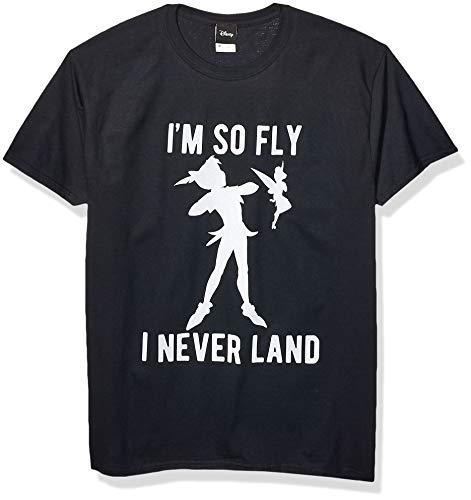Disney Men's Peter Pan Tinkerbell I'm So Fly I Neverland Graphic T-Shirt, Black, XL