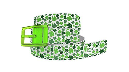 [Shamrock Belt - Green Clovers with White Strap & Green Buckle by C4 Belts] (Quick Costume Ideas For Work)