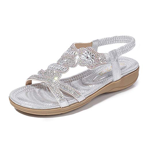 Toimothcn Bohemia Crystal Flat Sandals Women Casual Elastic Strap Peep Toe Shoes Beach Sandals (Silver3,US:7.5)