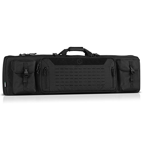 Savior Equipment Urban Warfare Tactical Double Carbine Long Rifle Bag Gun Case Firearm Backpack w/Pistol Handgun Case - 46 Inch Obsidian Black