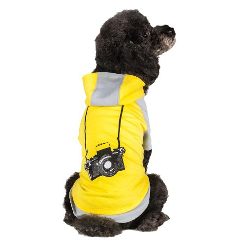 Blueberry Pet Cotton Dog Camera Hoodie in Grey & Yellow for Puppy, Back Length 8