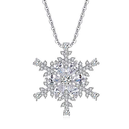 - Gyn&Joy Rhodium Plated Snowflake Chain Necklace Pendant with Swarovski Element Crystal and CZ Jewelry for Women BN002NS
