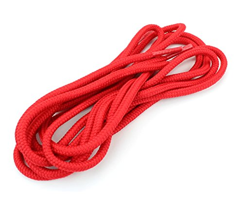 """Round Shoelaces 3/16"""" Thick Solid Colors for All Shoe Types Several Lengths (Red-54)"""