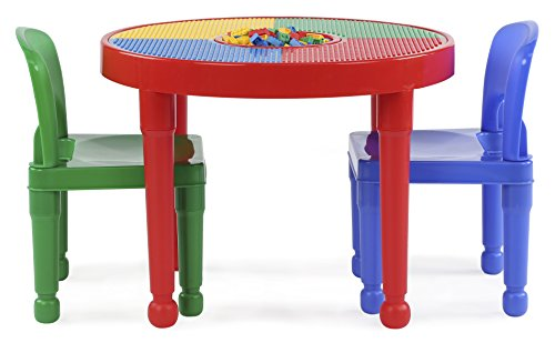 Tot Tutors Kids 2-in-1 Plastic LEGO-Compatible Activity Table and 2 Chairs Set, Primary Colors by Tot Tutors (Image #5)