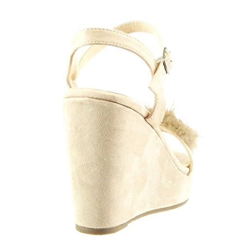 Angkorly - Chaussure Mode Sandale plateforme femme fourrure fleurs bijoux Talon compensé plateforme 11 CM - Beige