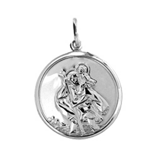 Sterling Silver St Christopher Pendant 26mm /& 22Silver Curb Chain