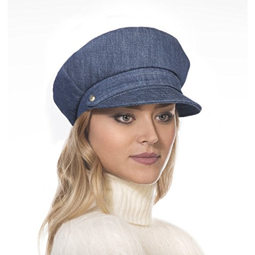 Eric Javits Luxury Fashion Designer Women's Headwear Hat - Denim Cap - Indigo by Eric Javits