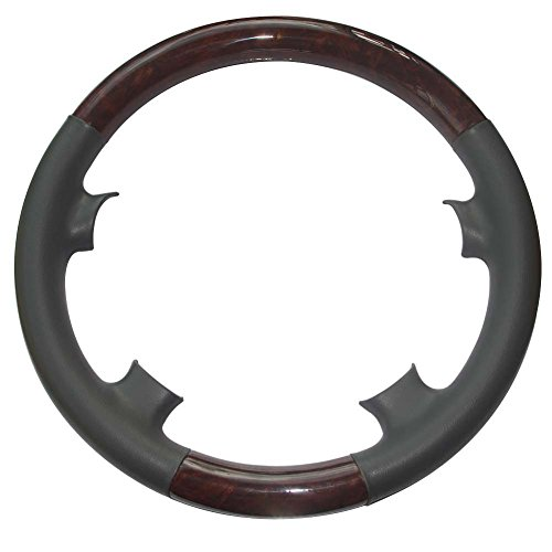 Pursuestar Grey Leather Brown Wood Steering Wheel Protector Cover Cap for 2000-2002 Mercedes Benz W210 E Class E320 E430 E500 E55 AMG