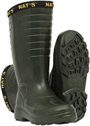 NAT'S 1540 Durable Rain Boots for Men - Ideal as Farm Boots or Fishing Boots - EVA, Ultralight (0.6 lbs),