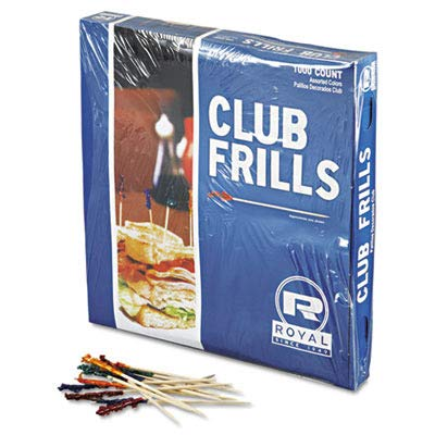 Royal R812W Club Cellophane-Frill Wood Picks, 4'', Assorted, 10 Boxes of 1000 (Case of 10,000)