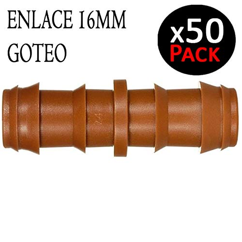 Suinga ENLACE GOTEO MARRON 16MM Manguito color marr/ón Uni/ón para tubo de goteo di/ámetro 16 mm Pack 50 empalmes para riego por goteo.