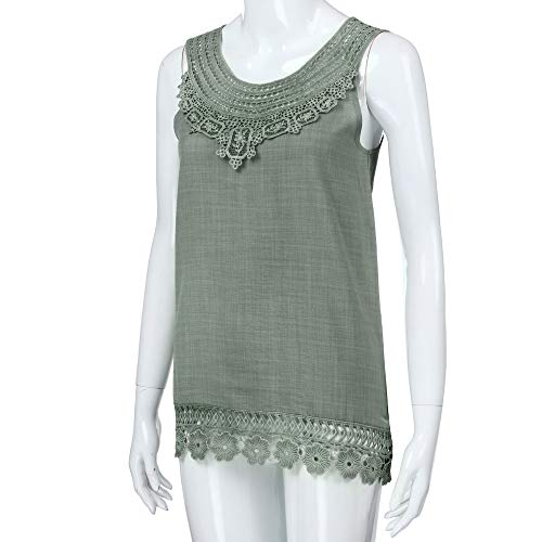 Funic Loose T-Shirt Women Knitting Lace O-Neck Sleeveless Pure Color Lace Plus Size Vest Tops Blouse(Green,L)