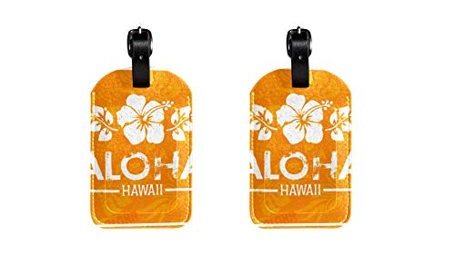 PU Leather Luggage Tags with Retro Aloha Hawaii Print Name ID Labels for Travel Bag Baggage Suitcase with Back Privacy Cover 2 pack