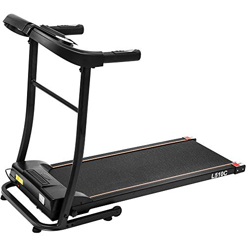 Julyfox Folding Treadmill Running Machine, Motorized Treadmill 16 inch Belt Home Exercise Machine W/Safety Key Heart Rate Monitor Cup Holder Quiet Walking Jogging Equipment for Small Spaces
