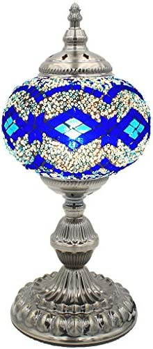 Silver Fever Handcrafted Mosaic Turkish Lamp Moroccan Glass Table Desk Bedside Light Bronze Base with E12 Bulb Blue Wave LG