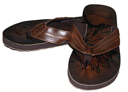 Leather Lining Fashion Flip Dona Flops Brown Men's Michi Inside qvXZywPYa