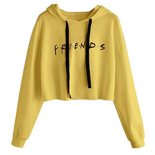 Susada Womens Friends Letter Printed Hoodies Casual Crop Tops Pullover Sweatshirts Soft (Medium, -