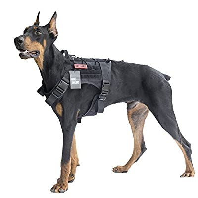OneTigris Tactical Service Dog Vest - Waterproof Comfortable Military Patrol K9 Dog Harness with Handle