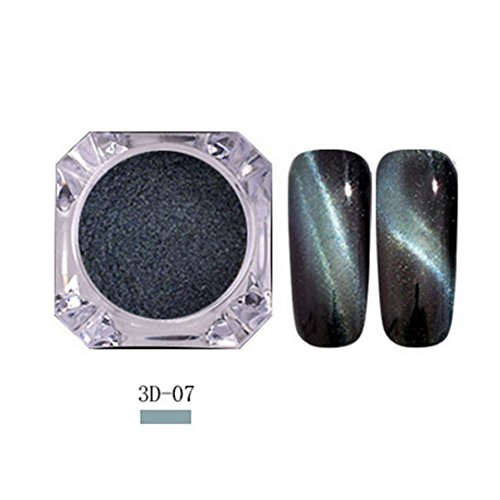Mimfor Cat Eye Nail Powder Neon Mirror glitter Mirror Effect Rainbow Crystal Opal (G,) (Wax Dipped Bears)