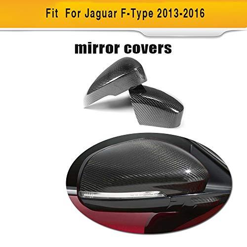 (Pukido Carbon Fiber Rear Side Mirror Cover Fender for Jaguar F-Type Coupe 2 Door 2013-2016)