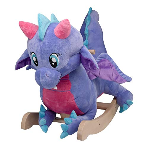 Puff Periwinkle Dragon | Horse Plush Butterfly Baby Toy with Wooden Rocking Chiar Horse/Kid Rocking Toy/Baby Rocking Horse/Rocker/Animal Ride