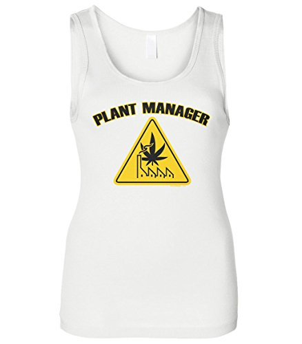 Cybertela Women's Plant Manager, Funny Weed Marijuana 420 Slim Fit Tank Top (White, Small)