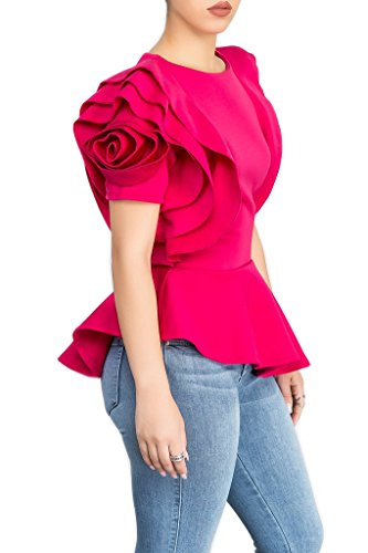 (Blansdi Women Round Neck Ruffle Short Sleeve Peplum Bodycon Blouse Shirts Tops Rose Red Large, US M)