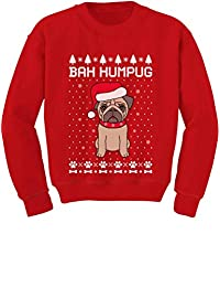 Tstars - Bah Humpug Funny Ugly Christmas Puppy Pug Dog Youth Kids Sweatshirt