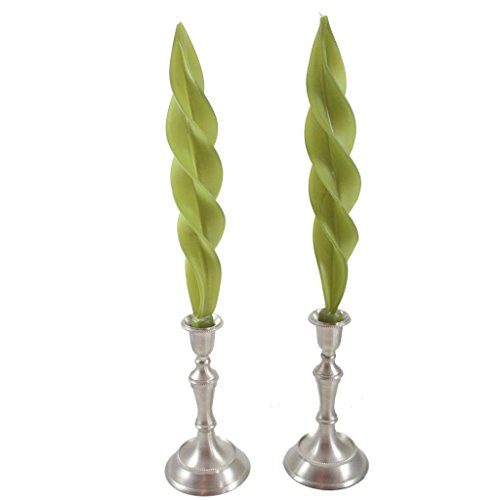 Beeswax Feather Taper Candle - 12 inches - Sage