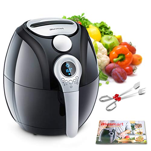 - Air Fryer, Blusmart Electric Air Fryer, 3.4Qt/3.2L 1400W, LED Display, Hot Air Fryer, Healthy Oil Free for Cooking/Baking (Recipes & Kitchen Tongs Included)