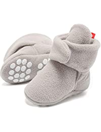 FANTINY Newborn Baby Cozy Fleece Booties with Non Skid Bottom
