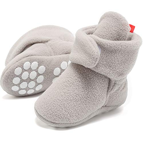 FANTINY Newborn Baby Cozy Fleece Booties with Non Skid Bottom,DNDXBX,3N.Gray,13