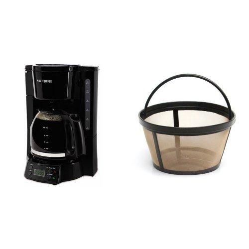 Mr. Coffee BVMC-EVX23 12-Cup Programmable Coffeemaker, Black & Mr. Coffee GTF2-1 Basket-Style Gold Tone Permanent Filter