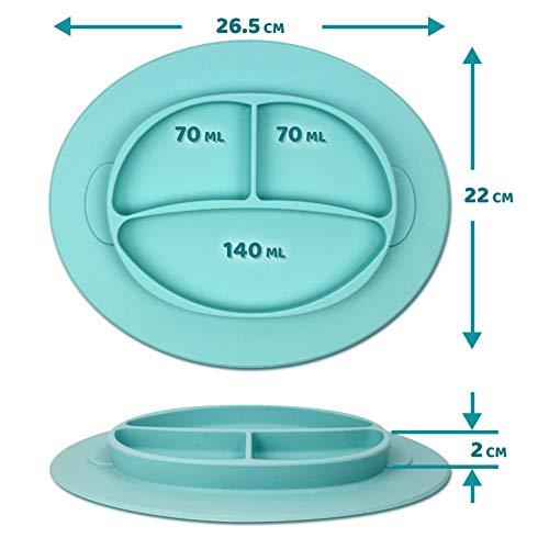 Babylovit BPA-freier und Rutschfester Kinder Teller Essmatte Pinke Ente gepr/üfter Esslernteller mit Saugnapf Placemat Ideal f/ür Baby Led Weaning