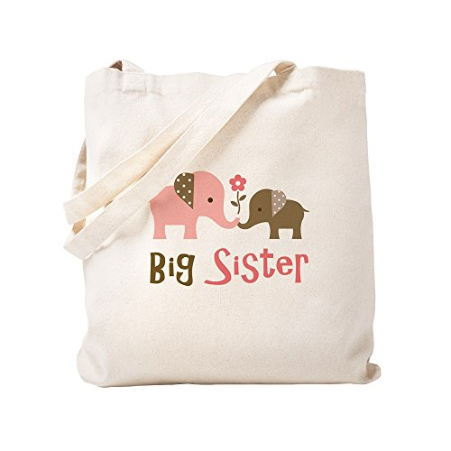CafePress Big Sister Mod Elephant Natural Canvas Tote Bag, Cloth Shopping Bag ()