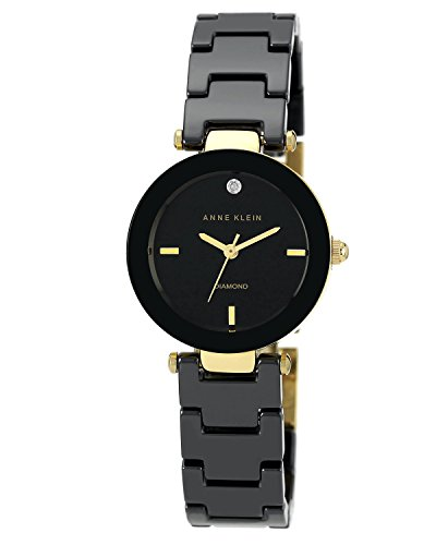 Anne Klein Women's Riley Quartz Watch with Black Dial Analogue Display and Black Ceramic Bracelet AK/N1464BKGB