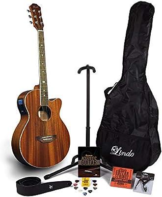 Lindo Feeling – Guitarra electroacústica (con LCD sintonizador XLR/bolsa y completo Pack de accesorios (funda ...