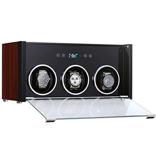 CRITIRON Luxury Automatic 3 Watch Winder with LCD Touch Screen, Rotating Wood Display Storage Box Case, USB/Mains Powered + Mabuchi Motor + Piano Paint