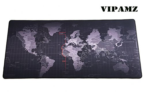 "VIPAMZ Extended Xxxl Gaming Mouse Pad - 35.4""x15.7""x0.12"" Dimension - Portable with Extended XXL Size - Non-slip Rubber Base - Special Treated Textured Weave with Precision Control (worldmap)"