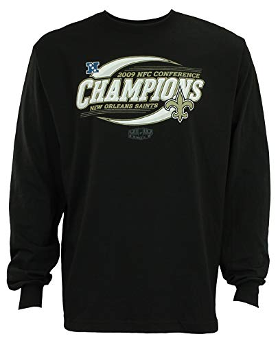 Reebok New Orleans Saints NFL Mens Vintage Super Bowl XLIV NFC Conference Champions Long Sleeve Shirt, Black (Large)